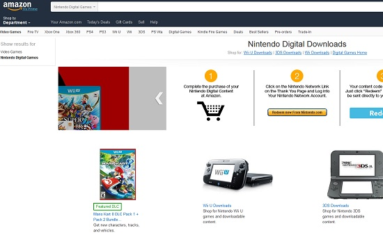 Digital Nintendo games sold on Amazon