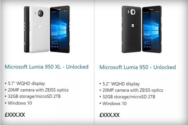 lumia 950 official microsoft listing