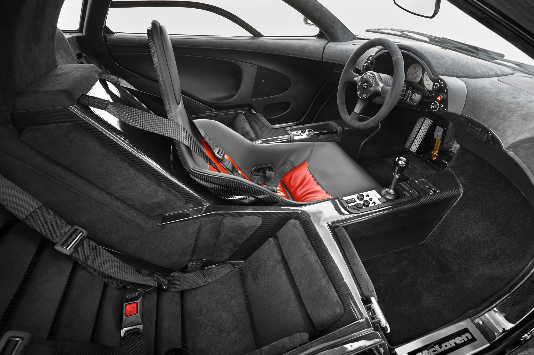 Interior view of the McLaren F1, with three seats.