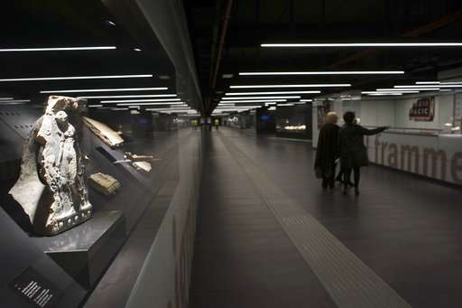 Artifacts displayed in the San Giovanni subway station