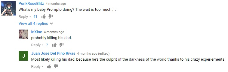 Screenshot of YouTube comments