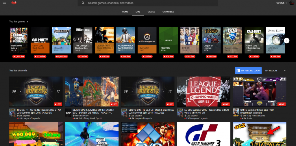 YouTube Gaming's Homepage