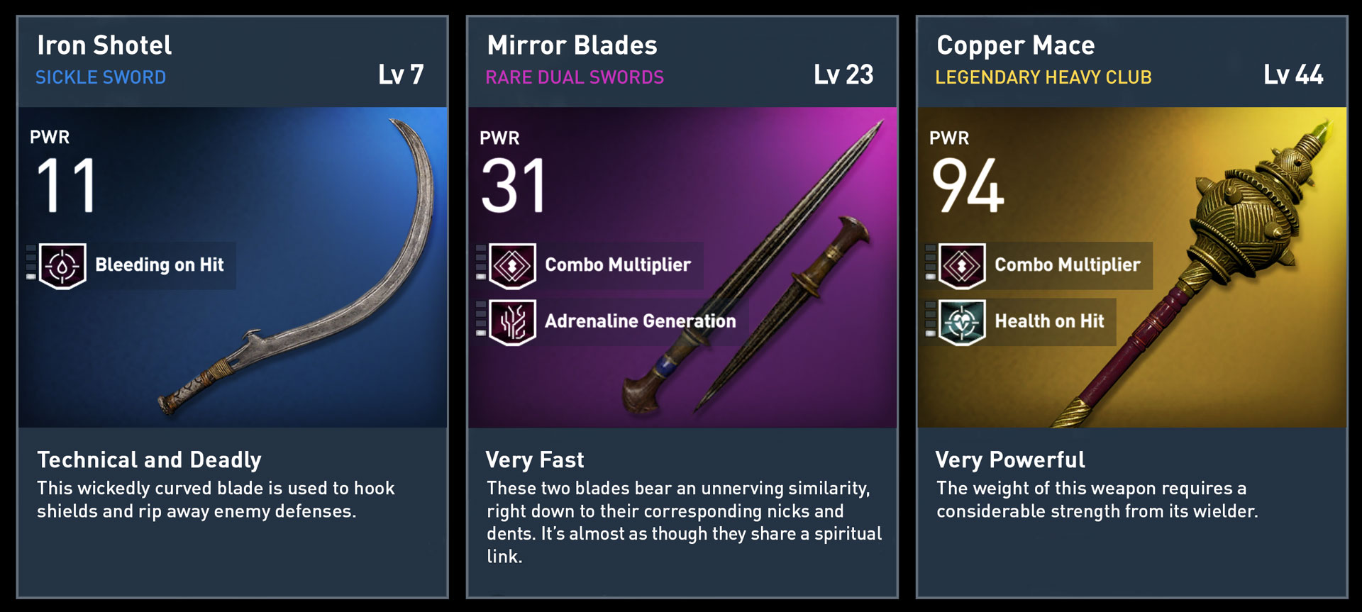 Assassins Creed Origins Weapon Tiers